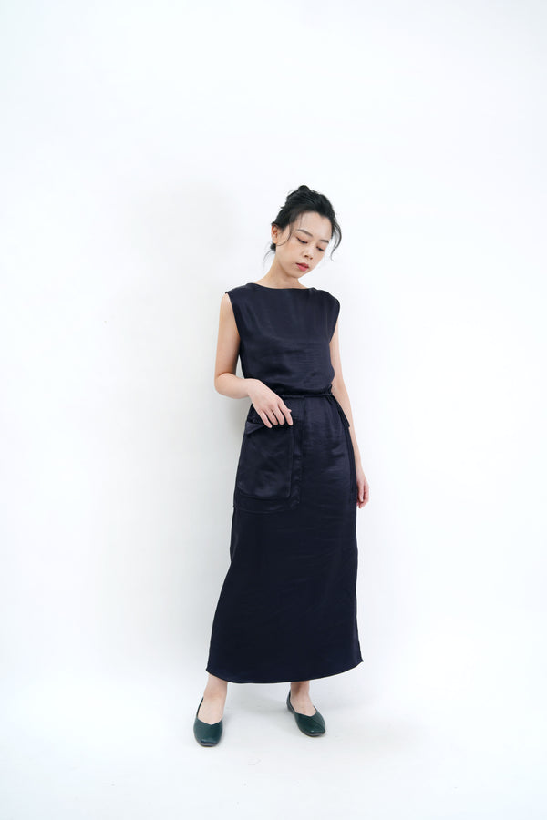 Navy satin maxi dress w/ attached pocket