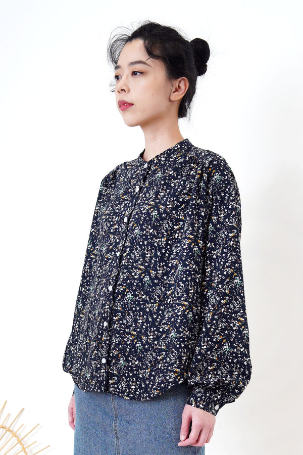 Navy stand collar shirt in floral print