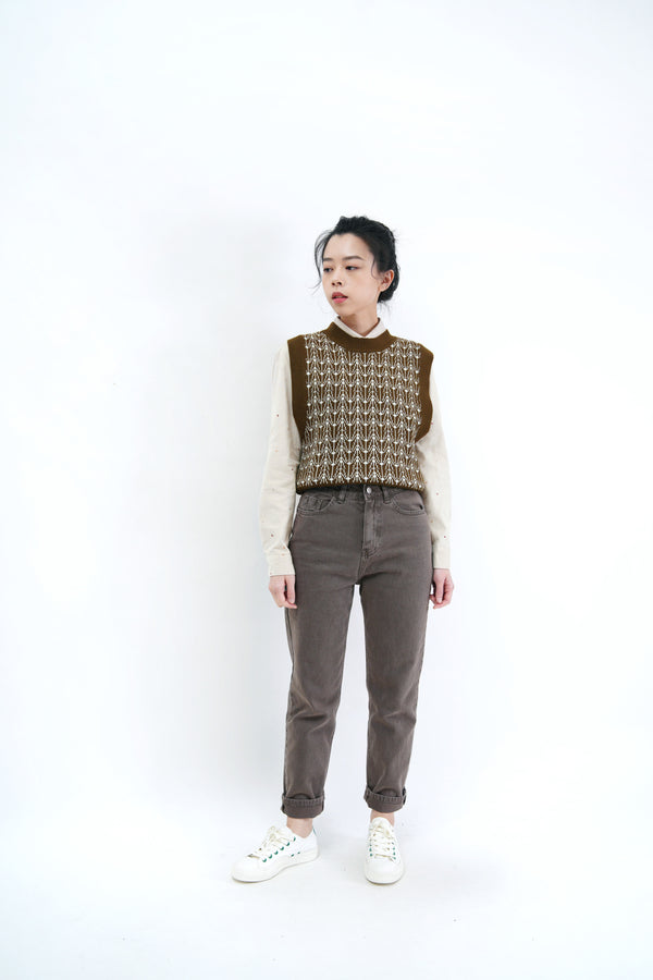 Dark olive green pattern vest
