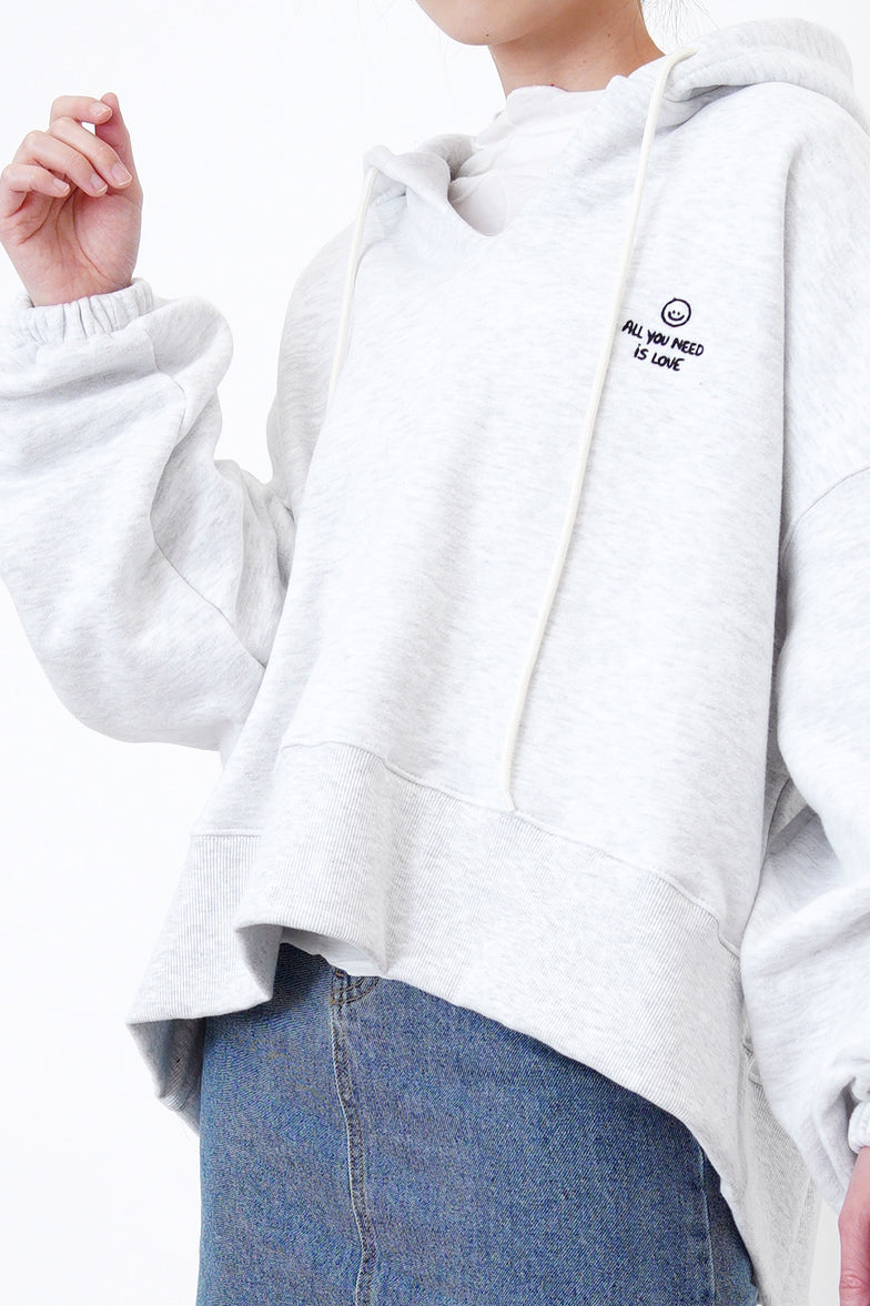 Light grey flare cut hoodie w/ embroidery