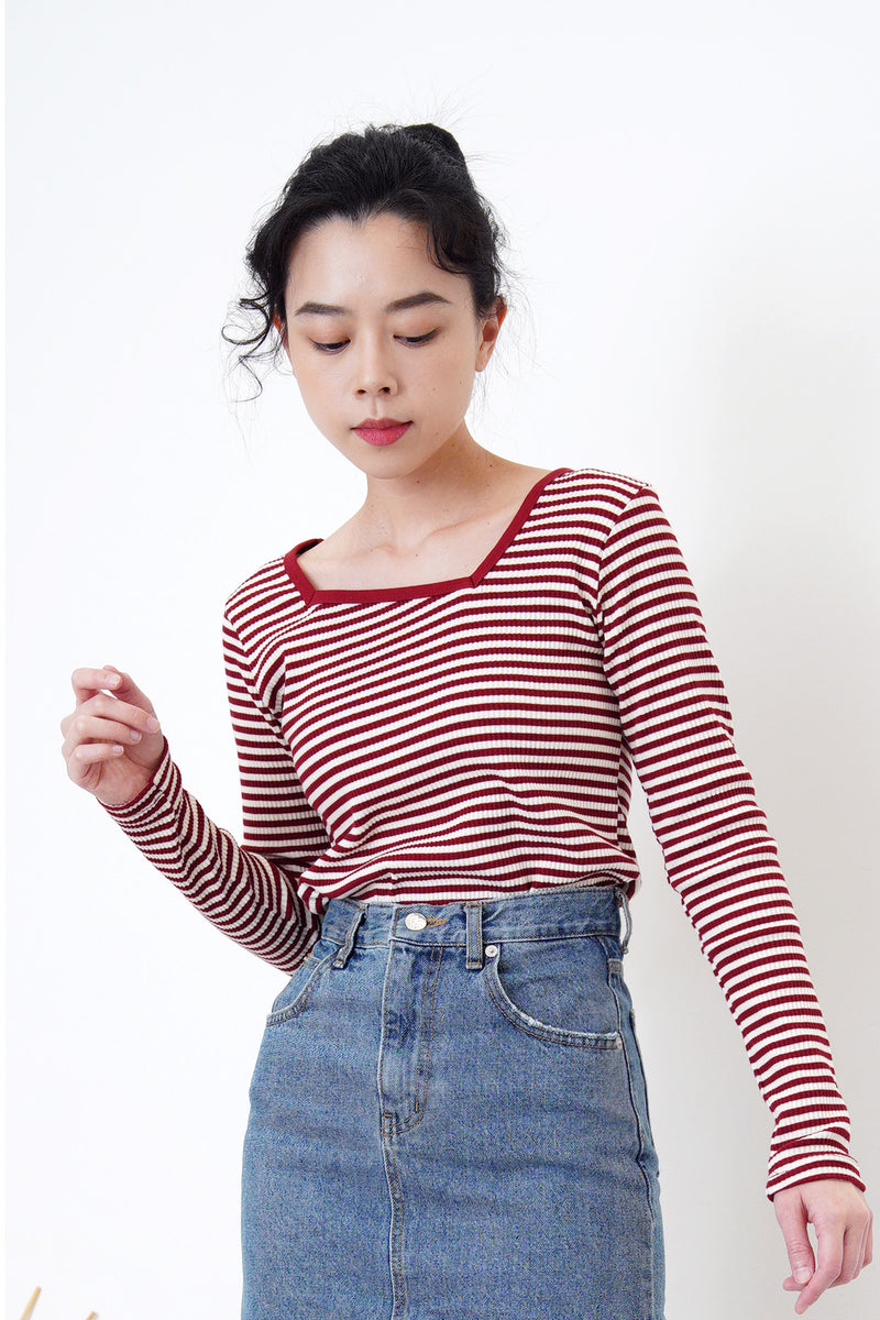 Red stripes top in asymmetric collar