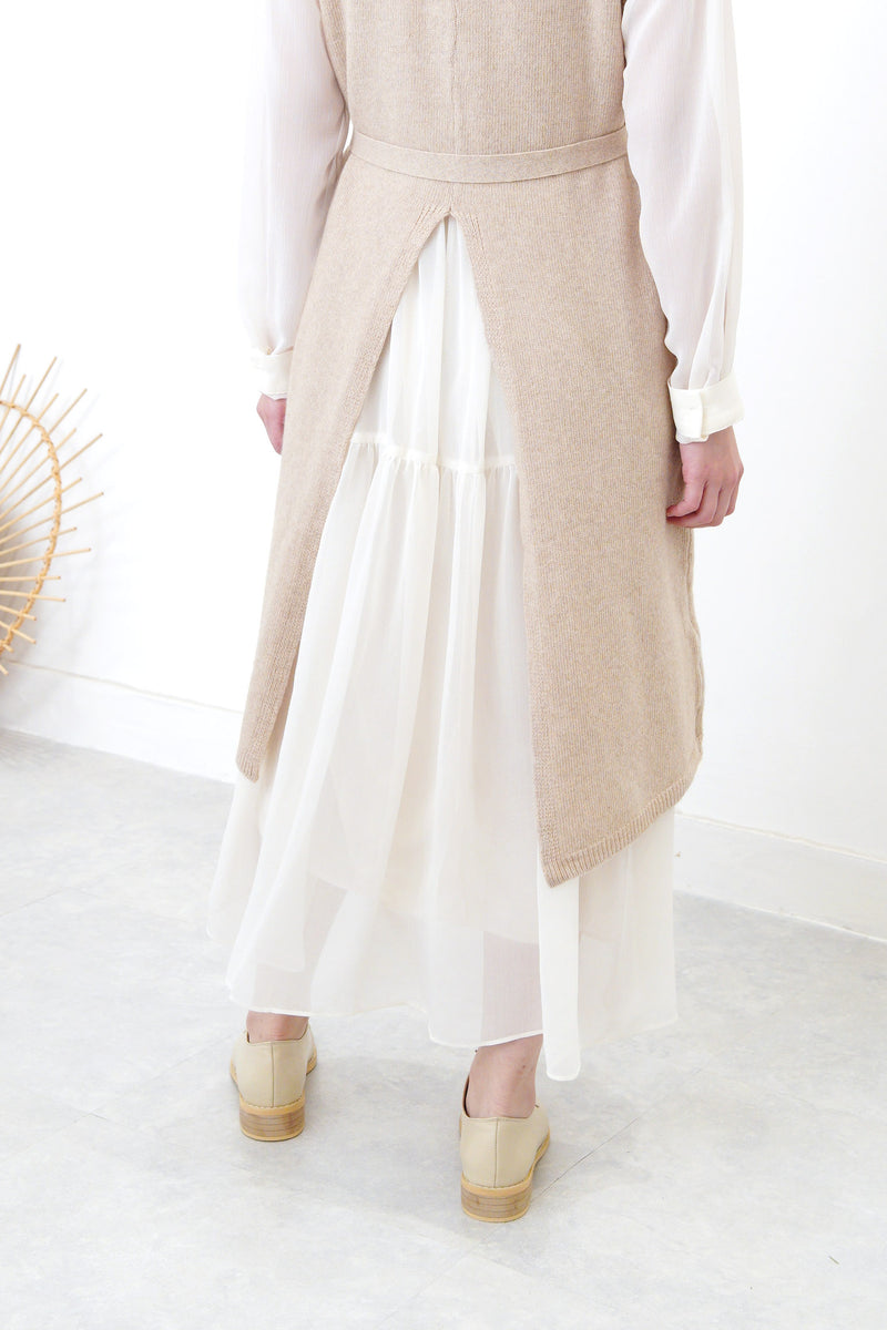 Beige wool vest slit dress w/ waist strap