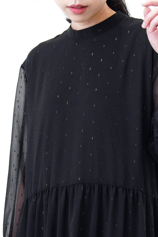 Black high neck chiffon maxi dress in glitters