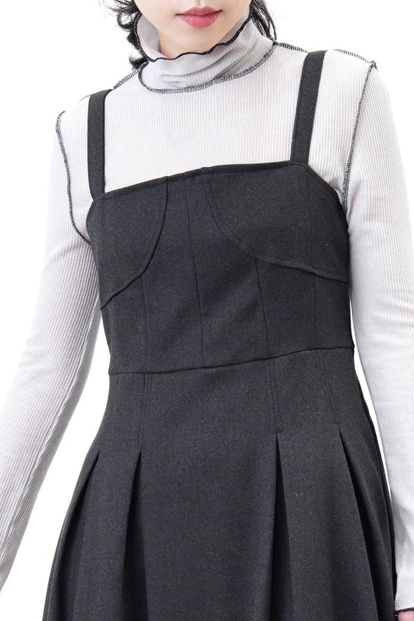 Charcoal grey corset dress in detail pleats