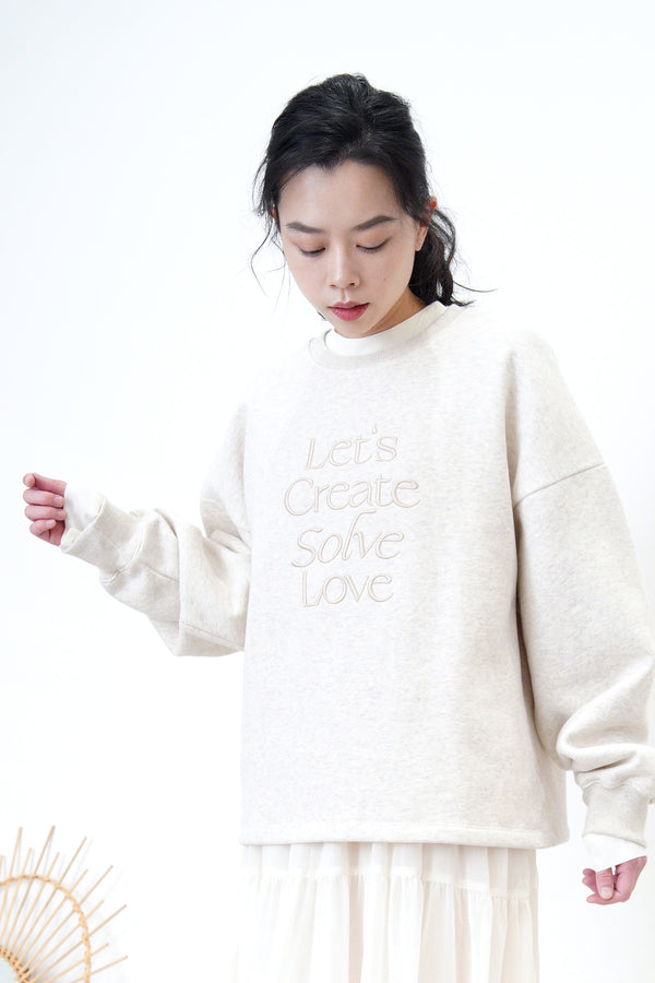 Light grey sweatshirt in letters embroidery