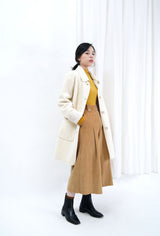 Ivory double sided faux fur coat