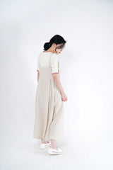 Beige linen cami dress in adj. straps
