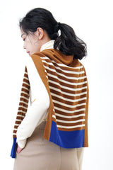 Brown stripes cape scarf in contrast color