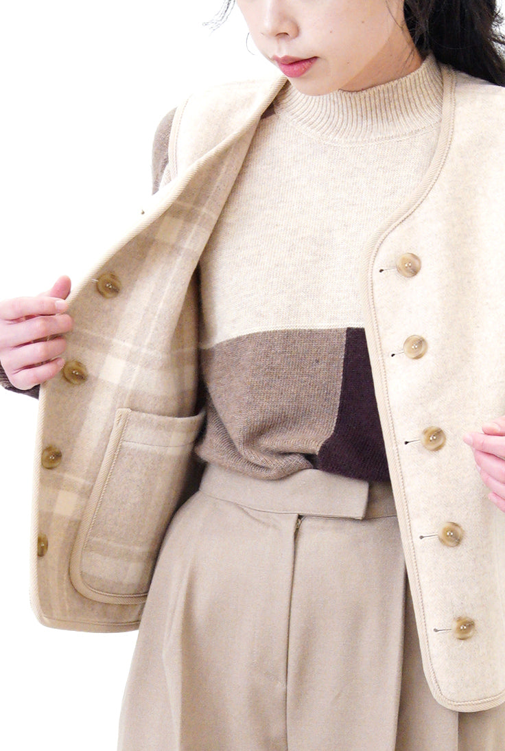 Brown tone color block sweater