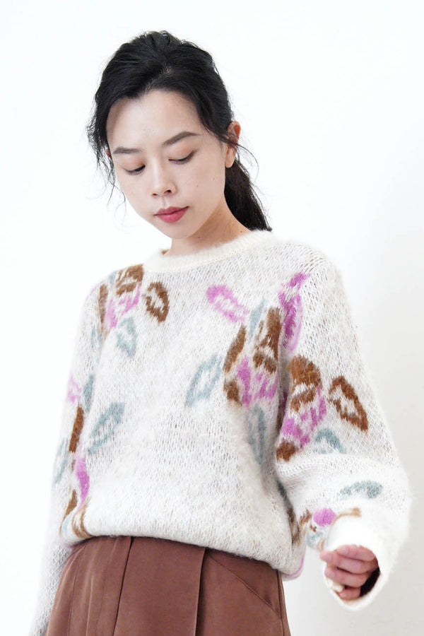 Knit fluffy sweater in floral print
