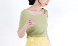 Olive tank top in square collar