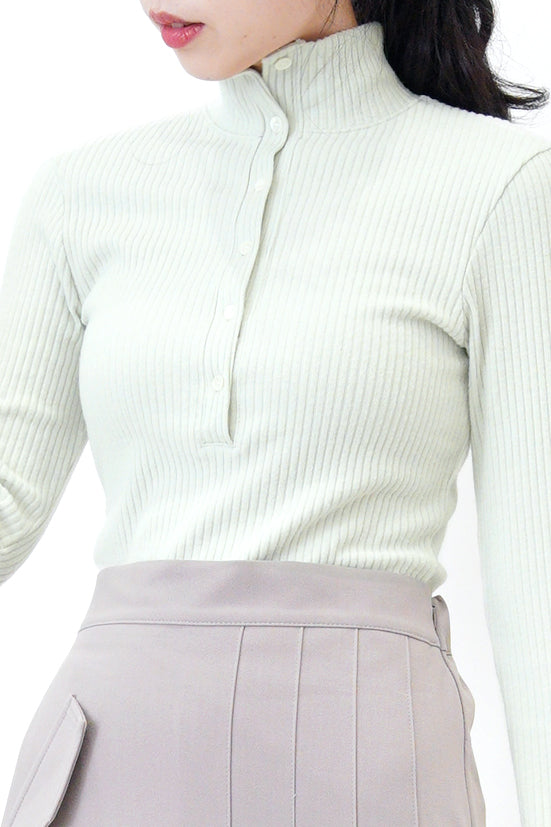 Mint stand collar polo top