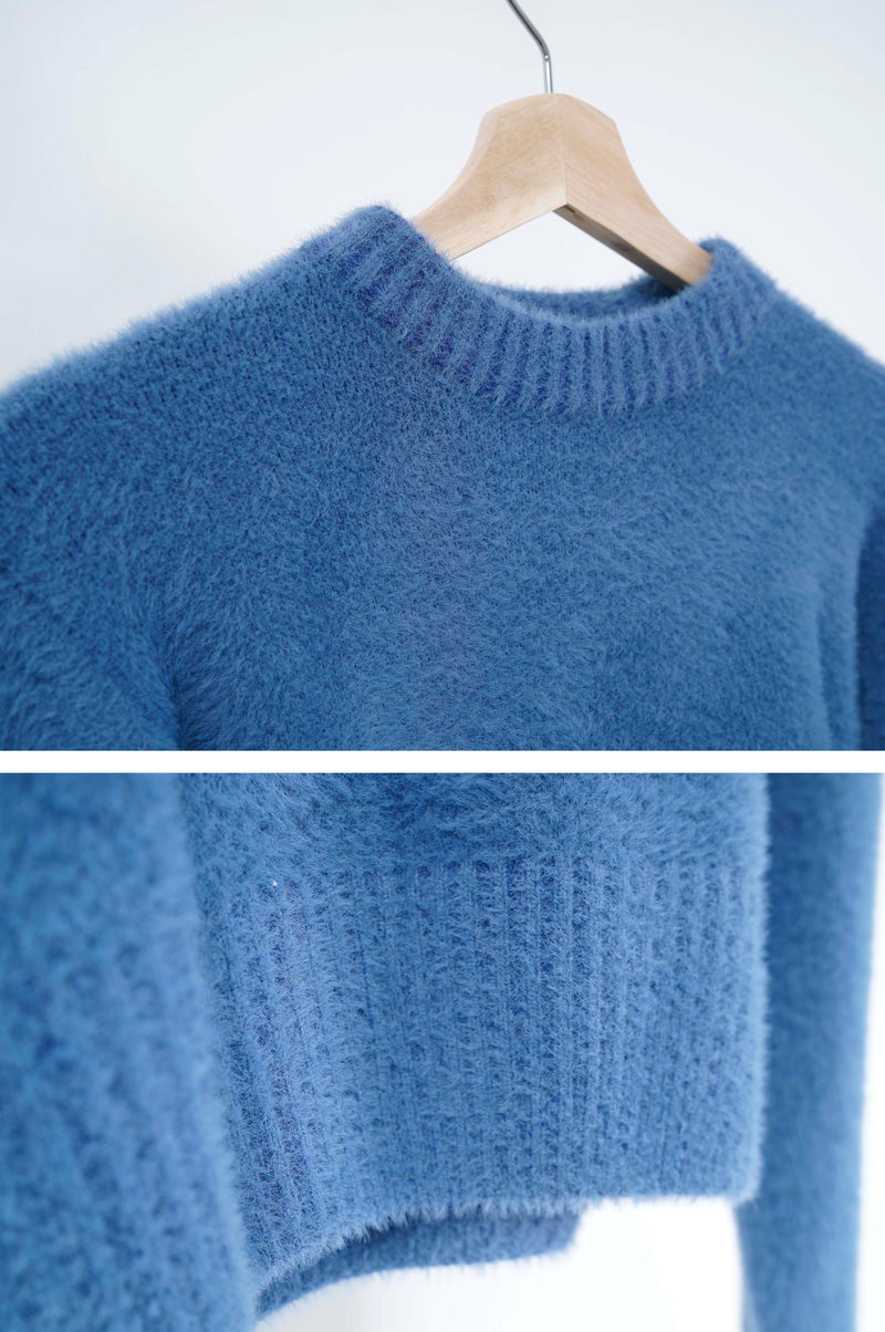 Sea blue fury smooth crop sweater
