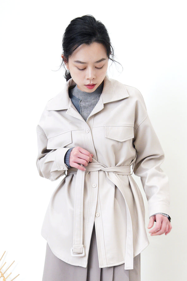 Light grey pu shirt jacket w/ waist belt
