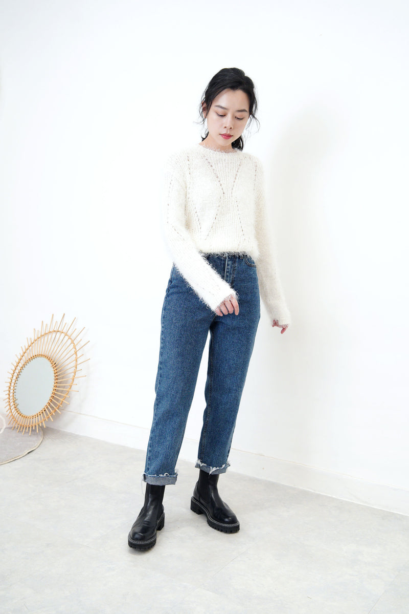 Ivory fluffy knit top in crochet detail