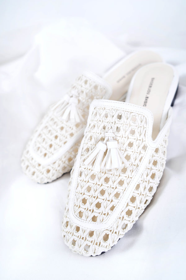 White crochet backless flat mules