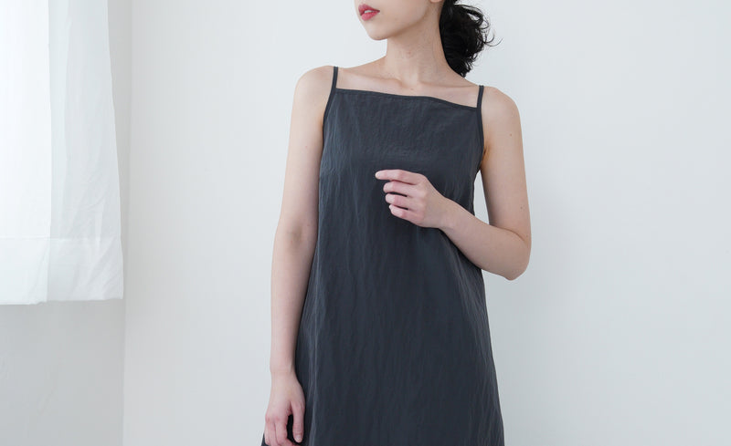 Grey wind breaker cami dress w/ string details