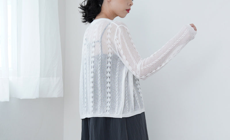 White crochet pattern cardigan