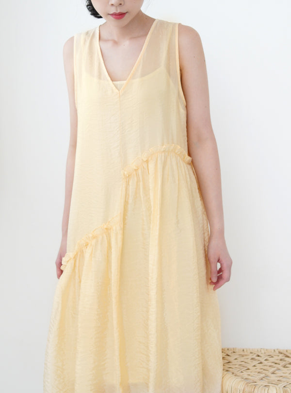 Yellow ruffle detail dress w/ cami inner