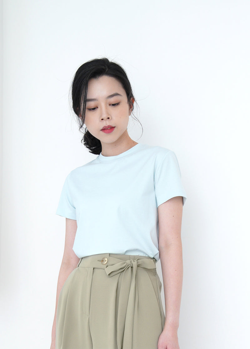 Pastel blue basic tee top in crop cut