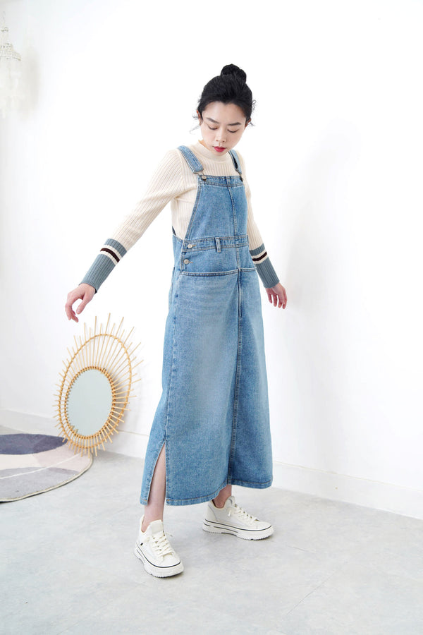 Denim overall dress w/ pockets