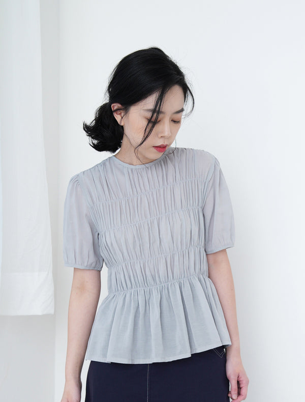 Grey blue blouse in gather details