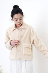 Cream fluffy pockets jacket