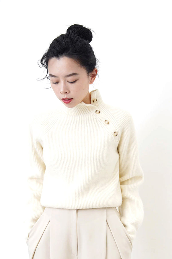 Ivory stand collar sweater w/ buttons