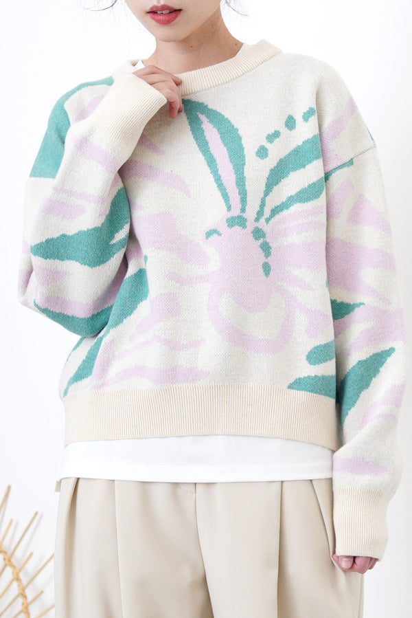 Pink floral pattern sweater