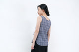 Navy checked v neck vest w/ waist strings