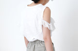 White ruffle vest in cut out shoulder