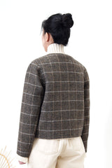 Wool checked blazer in brown