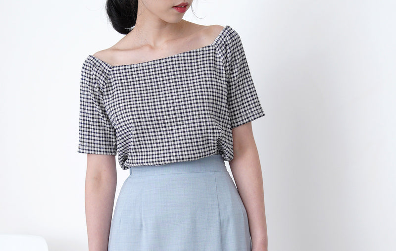 Navy check top in square collar
