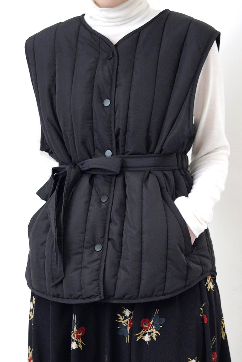 Black quilted vest jacket with waist strap