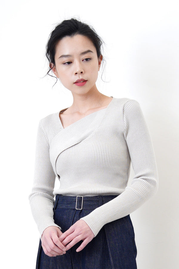 Grey knit top in overlay wrap style