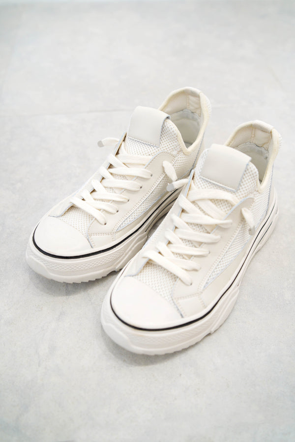 Off white leather sneakers