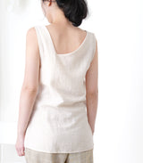 Cream v neck vest in knot front