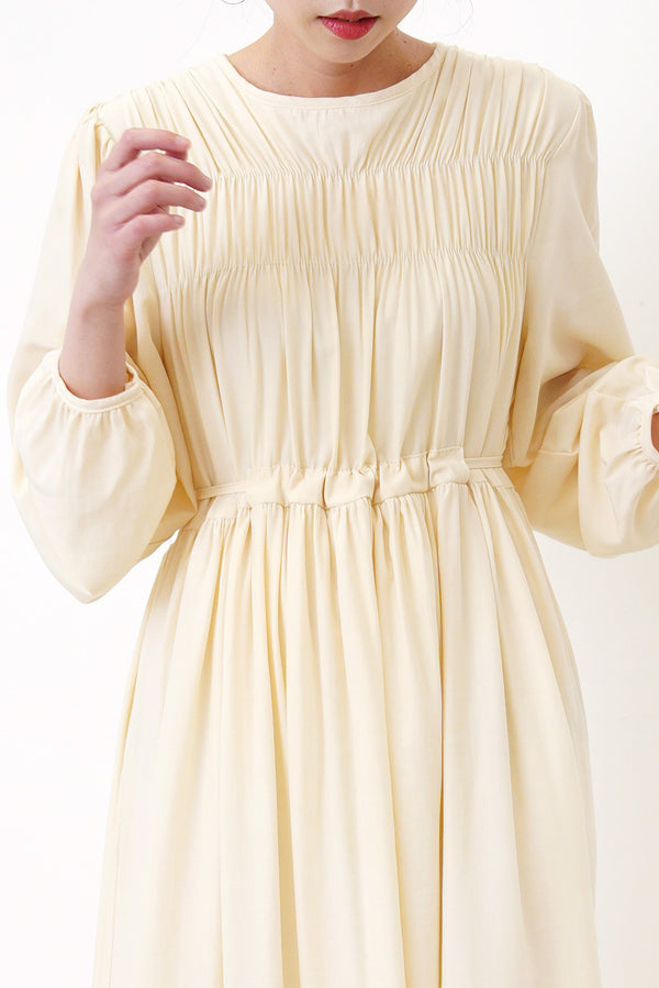 Cream tie waist dress in gather details
