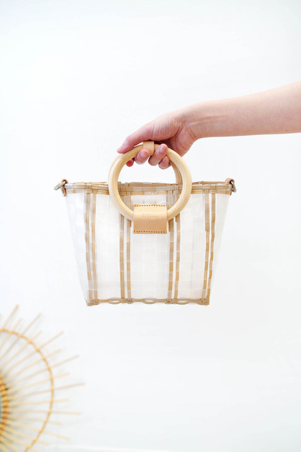 Ice cube crochet dolly basket w/ wooden handles