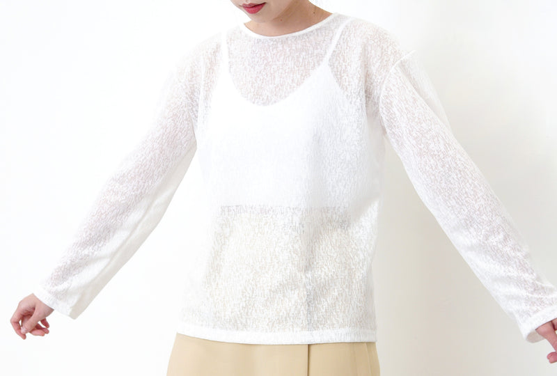 White snowflake sheer top