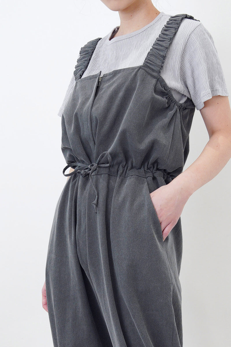 Charcoal cami jumpsuit in elastic straps