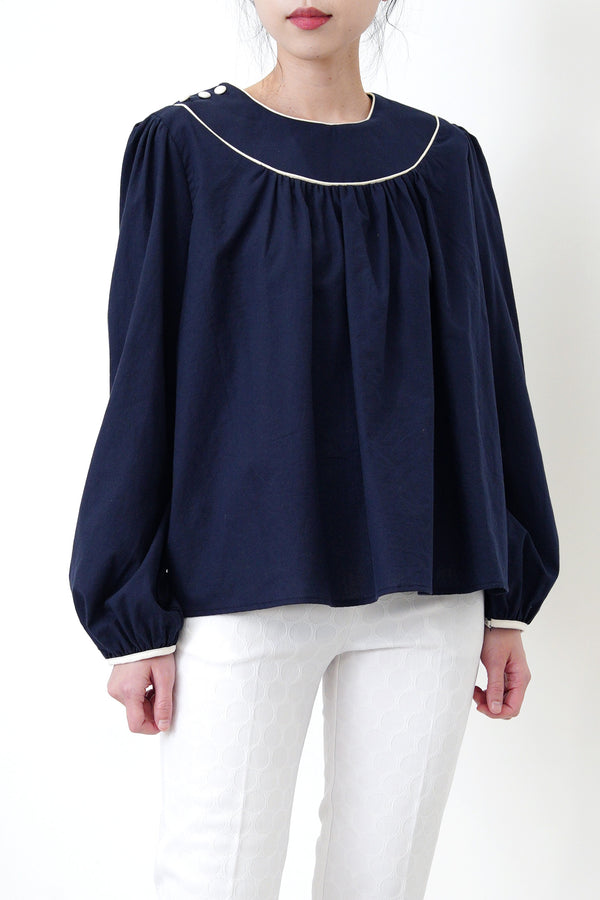 Navy dolly blouse in contrast outline