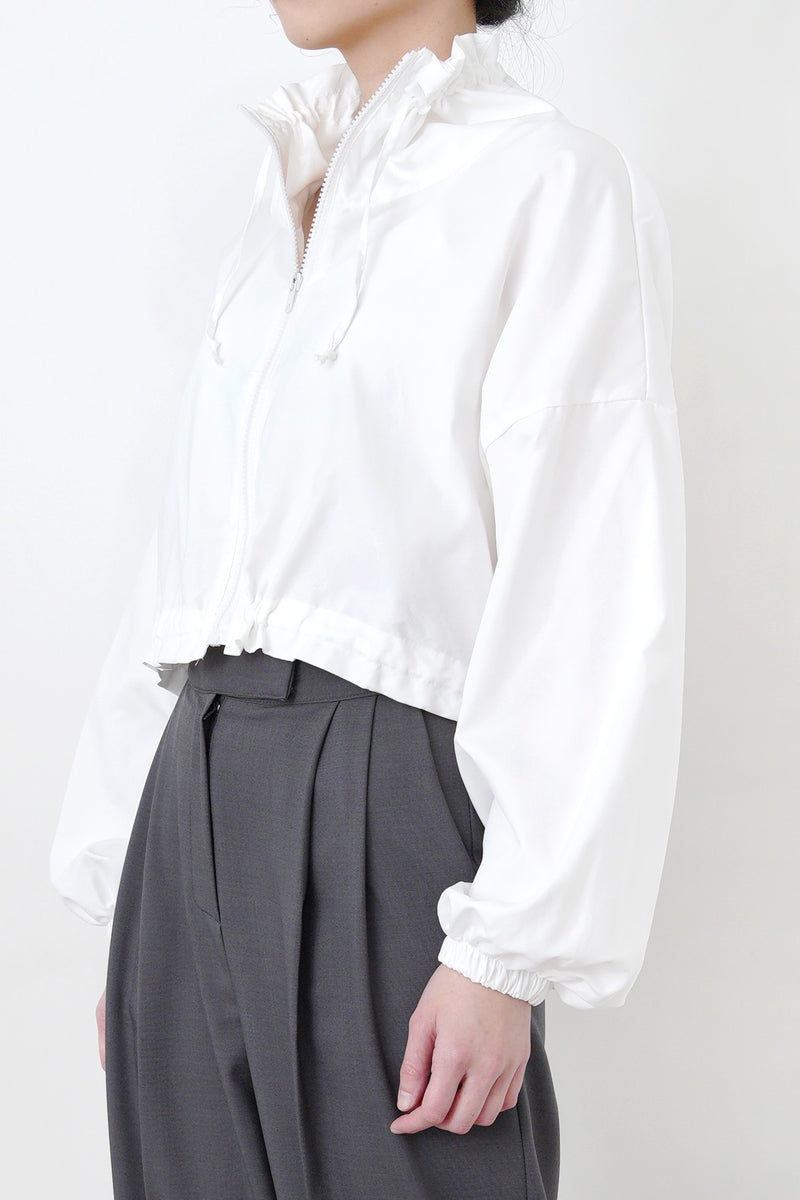 White windbreaker jacket in crop cut