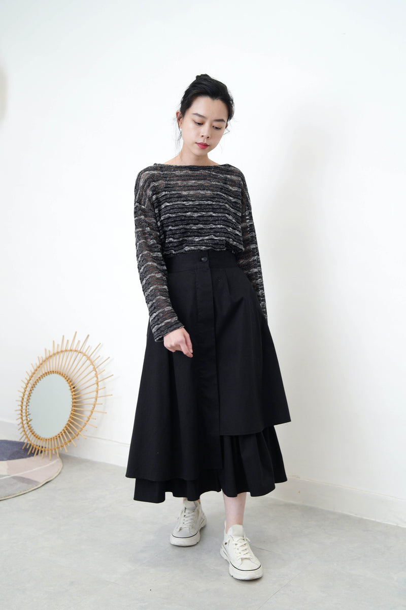 Black A shape skirt in layering