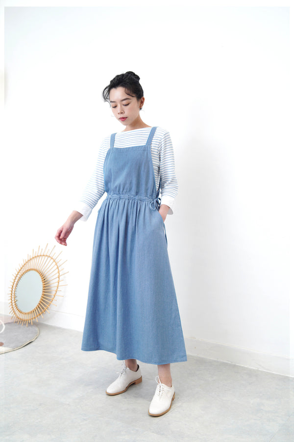Light blue soft demi cami dress w/ side strings