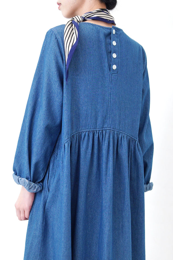 Blue frill soft denim dress