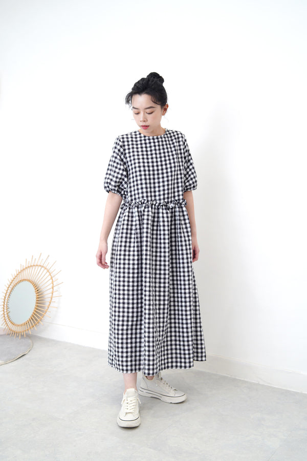 Checked smock dress