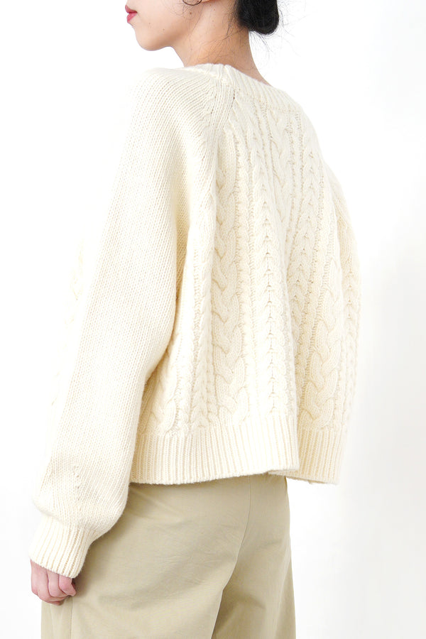Cream soft knit cardigan in twist pattern