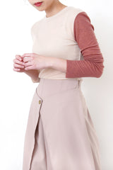 Pink cotton top in contrast color sleeves
