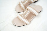 Nude flat leather sandals